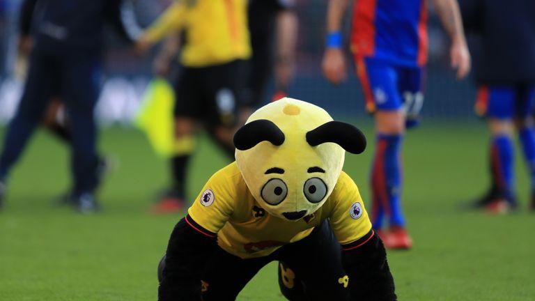 The Watford mascot mocking Wilfried Zaha in 2016