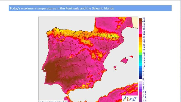 The worst of the heat is forecast for southern Portugal and southwest Spain. Pic: AEMET