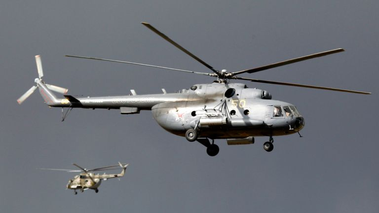 The helicopter was a model Mi-8. File pic