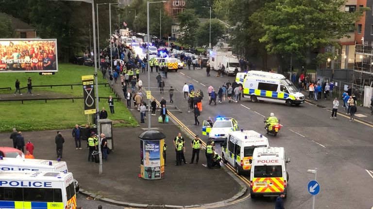 Emergency services have been called to deal with violence outside the Ibrox Stadium. Pic: Andi Denny