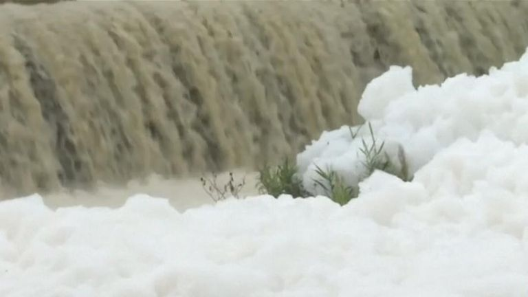 Pollution in India frequently makes news, in this case toxic froth floats along the Noyyal river