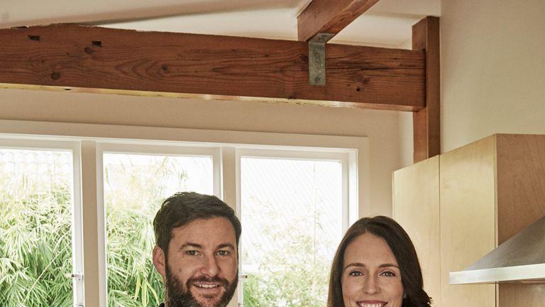 Jacinda Ardern with partner Clarke Gayford at their home