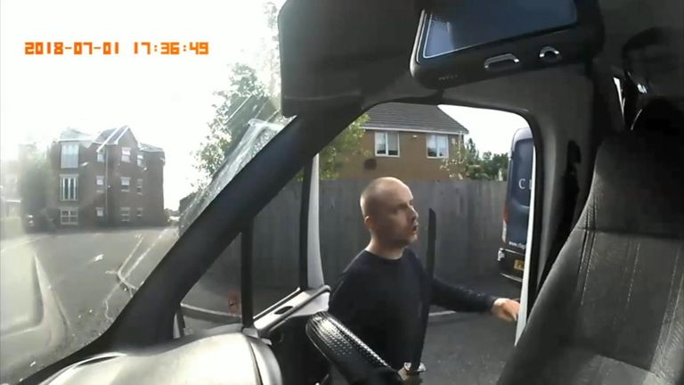 He turned up behind her van and threatened her