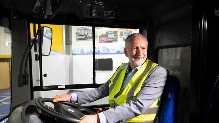 Labour leader Jeremy Corbyn sits behind the wheel of a bus during a visit to the Alexander Dennis bus manufacturer in Falkirk to campaign on his party's 'Build It In Britain' policy.