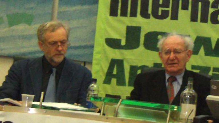 Jeremy Corbyn with Hajo Meyer at the 2010 event in the House of Commons