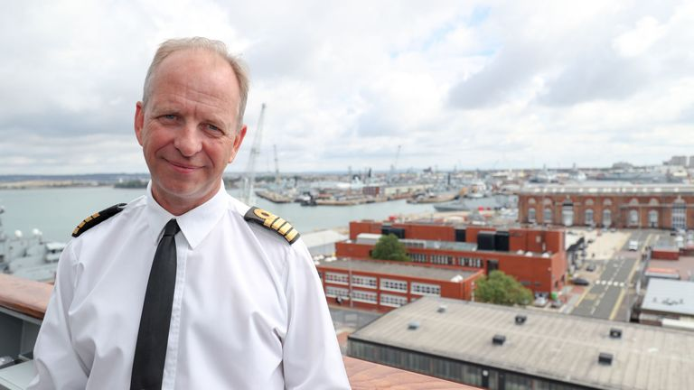 "Commanding officer of HMS Queen Elizabeth, Captain Jerry Kyd, on board as final preparations are made prior to her setting sail for the US to undergo flight trials with the F35B for the first time. He called the landing ""the culmination of a ""national endeavour""."