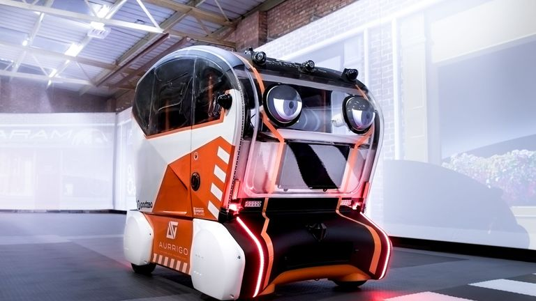 The pods, designed by Aurrigo, are operating in a simulated street at JLR's Coventry works. PIC: JLR
