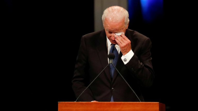 Joe Biden sobbed as he spoke of his own son's death from cancer