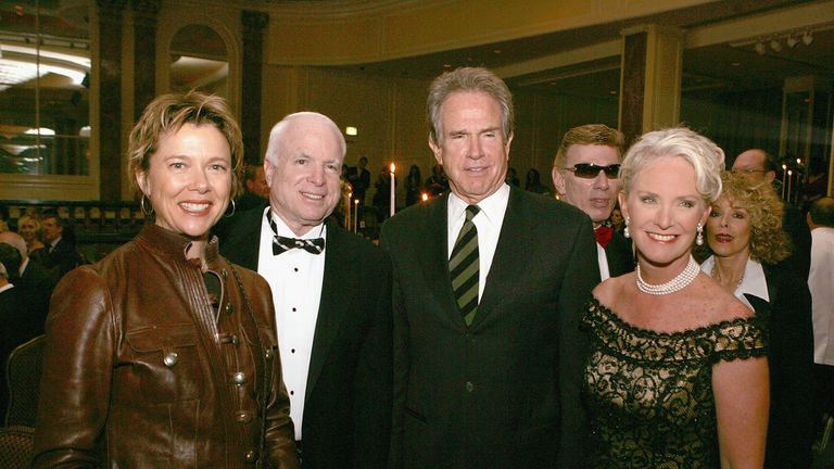 BEVERLY HILLS, CA - OCTOBER 1:  (L to R) Actress Annette Bening, Senator John McCain (R-AZ), actor Warren Beatty and honoree Cindy MaCain pose at Operation Smile's  4th Annual Los Angeles Gala at the Regent Beverly Wilshire Hotel on October 1, 2005 in Beverly Hills, California. (Photo by Kevin Winter/Getty Images) *** Local Caption *** Warren Beatty;Annette Bening;John McCain;Cindy McCain