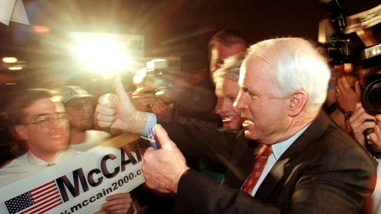 John McCain runs to be Republican nominee for the first time in 2000