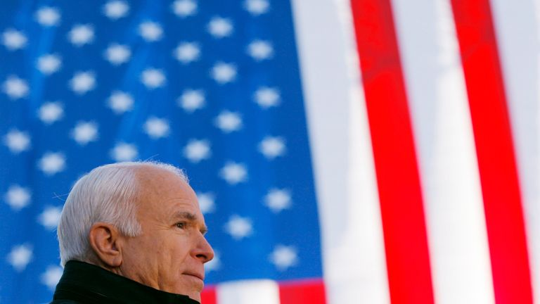 McCain during his 2008 presidential election campaign