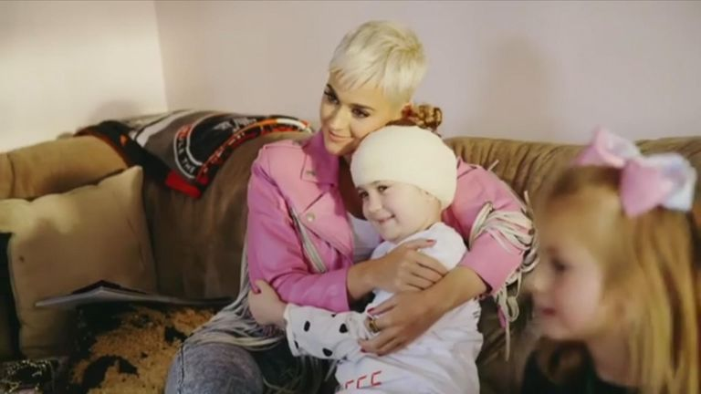 A hug from Katy Perry means everything to Grace who is recovering from brain surgery