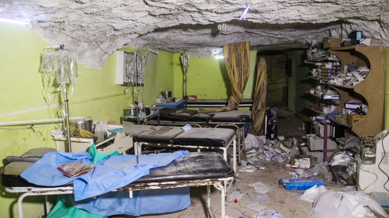 A destroyed hospital room in Khan Sheikhun following the suspected toxic gas attack