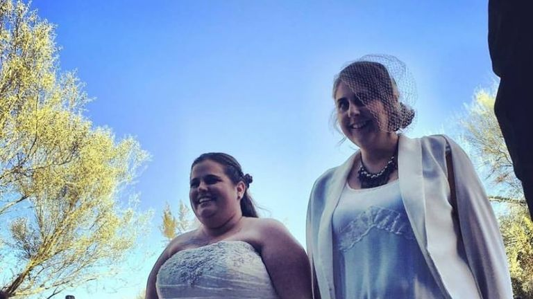 Patricia and Kimberly O'Neill on their wedding day