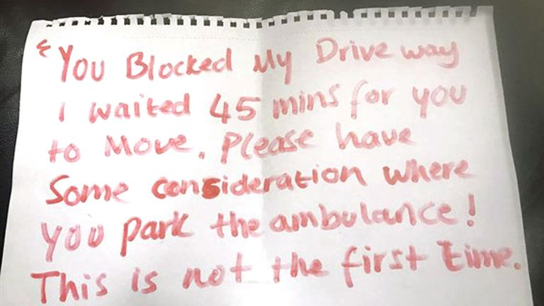 The note left on an ambulance in Leicester