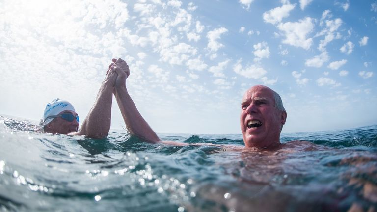 Major General Tim Toyne Sewell joined some of the swim on day 25