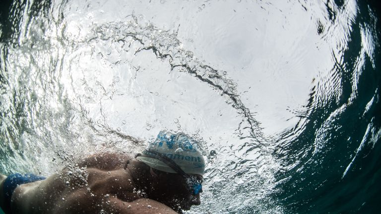 Lewis Pugh takes part in the latest leg of his Channel Long Swim