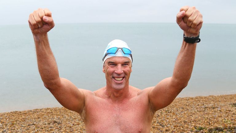 "Lewis Pugh arrives at Shakespeare Beach to complete his ""Long Swim"" from Land's End to Dover"