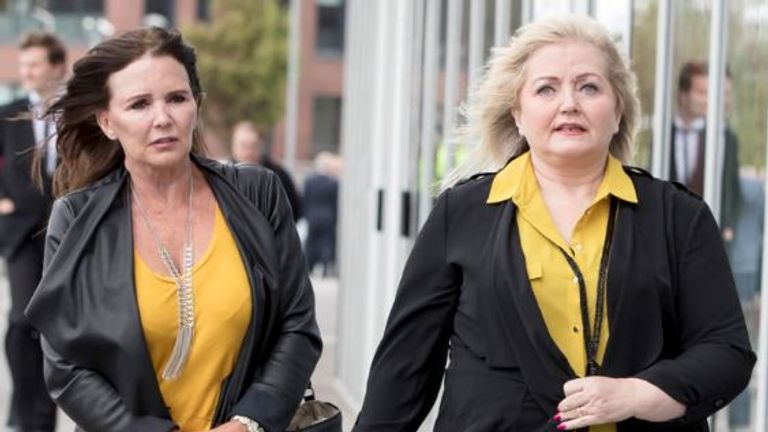 Maureen and Linda Nolan arrive at the funeral