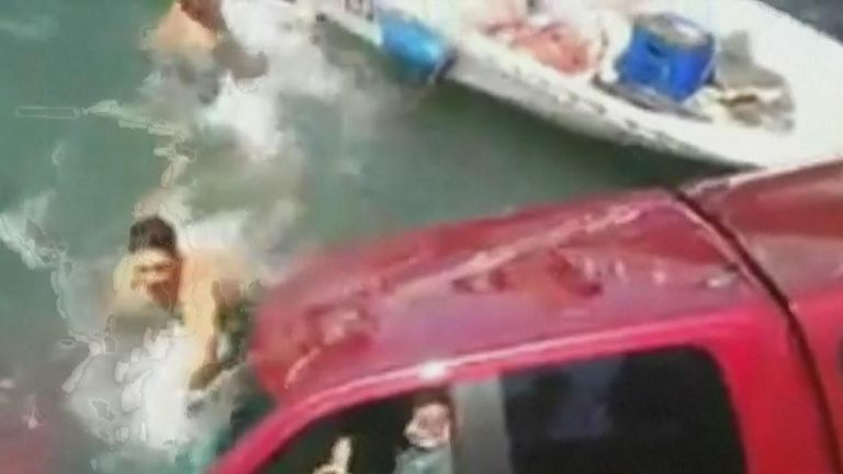 Two people and a dog rescued after car plunges into Long Beach harbour