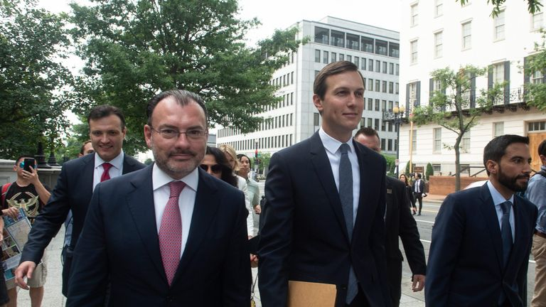Mexican Foreign Minister Luis Videgaray and Jared Kushner ahead of the announcement