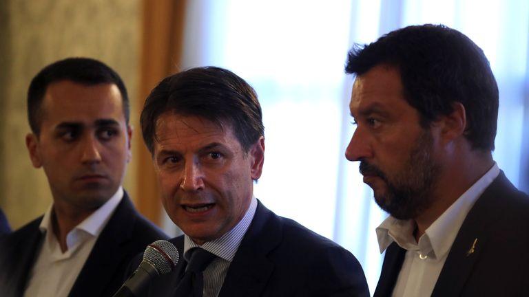 Giuseppe Conte with Luigi Di Maio (left) and Matteo Salvini (right)