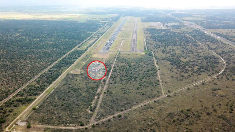The wreckage of a plane that crashed with 97 passengers and four crew on board on take off at the airport of Durango, in northern Mexico