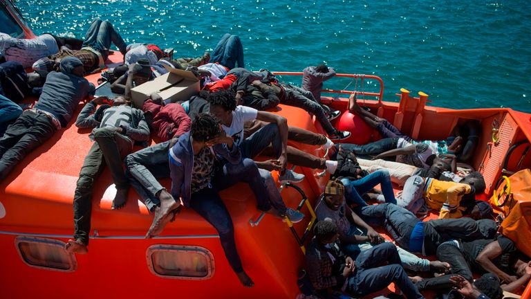 Migrants arrive in Tarifa on 26 July after being rescued by the Spanish coast guard