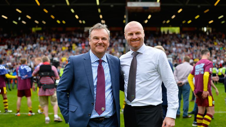 LONDON, ENGLAND - MAY 07: Chairman Mike Garlick and Sean Dyche, Manager of of Burnley after the Sky Bet Championship between Charlton Athletic and Burnley at the Valley on May 7, 2016 in London, United Kingdom. (Photo by Justin Setterfield/Getty Images)