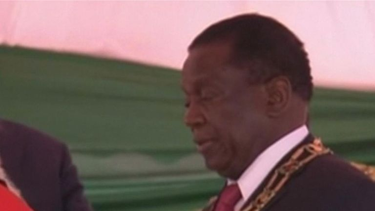 Emmerson Mnangagwa is sworn in as president of Zimbabwe