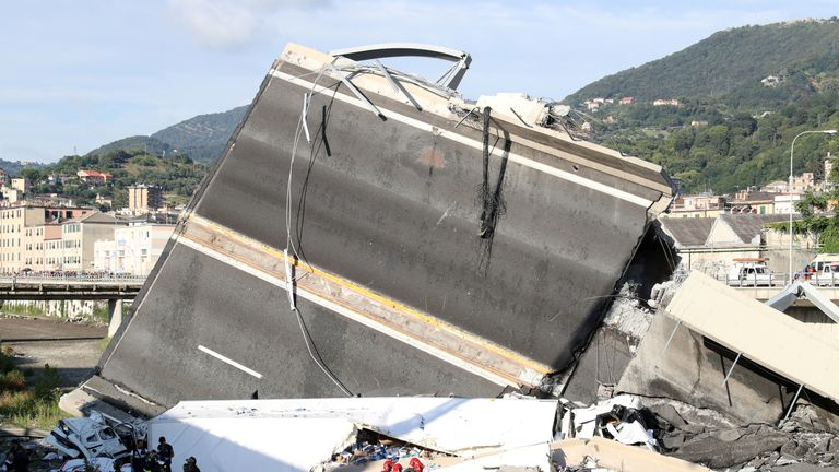 The collapsed Morandi Bridge in Genoa