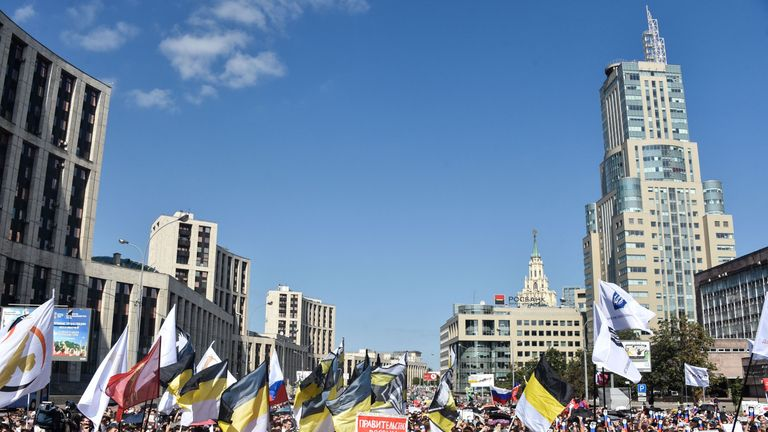 Opposition supporters attend a rally against the government's proposed reform hiking the pension age in Moscow in July
