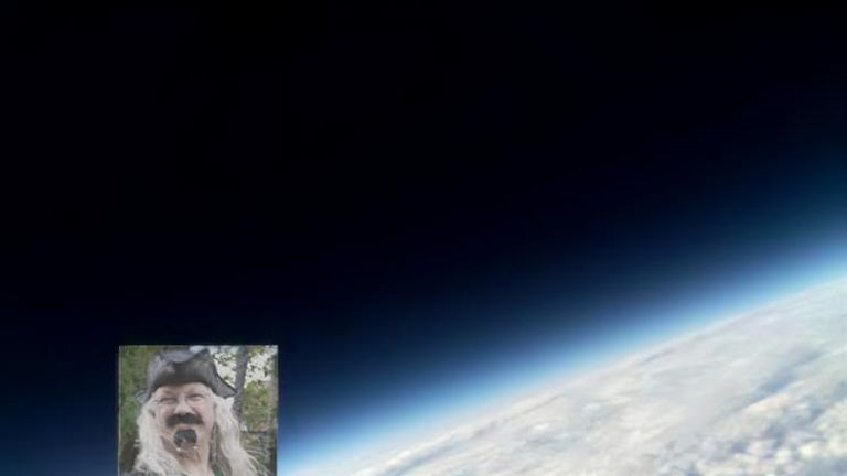 A low-res picture of Phil Robson beamed back from the stratosphere. Pic: Nathan McLaughlin