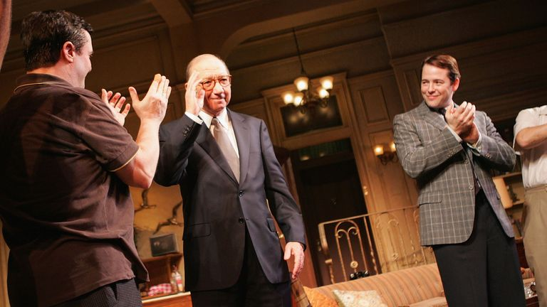 Neil Simon (C) at the opening night of The Odd Couple with Matthew Broderick in 2005