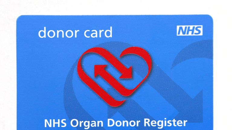 An NHS Organ Donor Register card