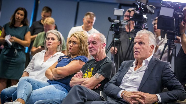 Nicky's father Peter Verstappen (C), his sister Femke and mother Berthie Verstappen at the press conference