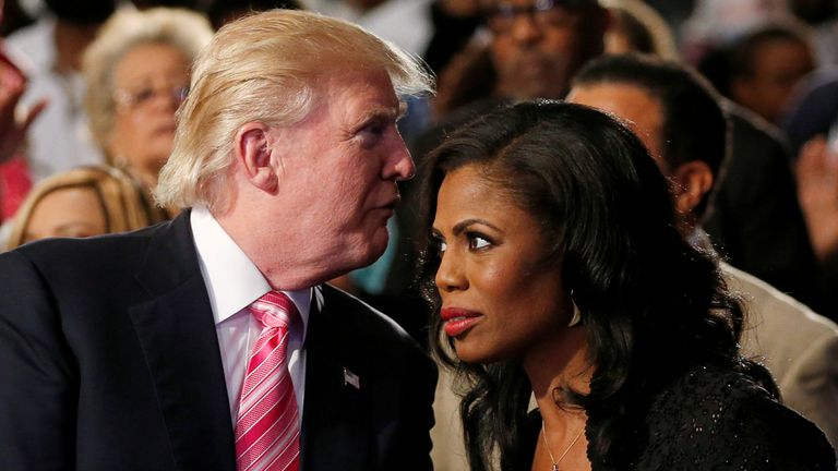 Republican presidential nominee Donald Trump and Omarosa Manigault attend a church service, in Detroit, Michigan, U.S., September 3 2016