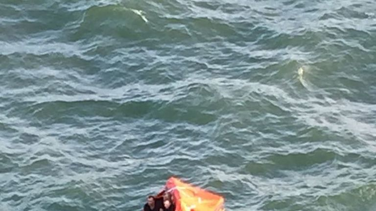 The life raft from which three fishermen were rescued. Pic: Alexandra Rosen