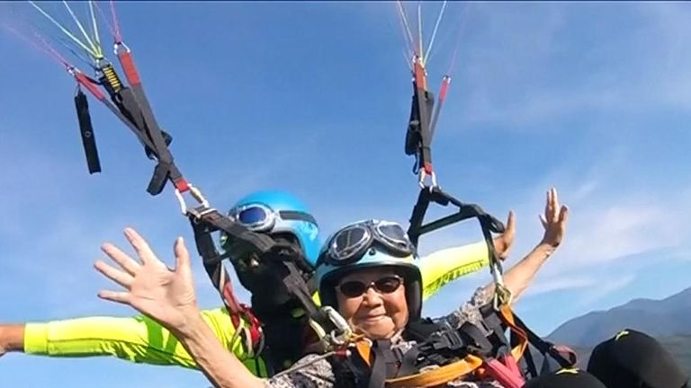 Local media reported that Wu Rui-lin was the oldest in Taiwan ever to take  a paragliding ride