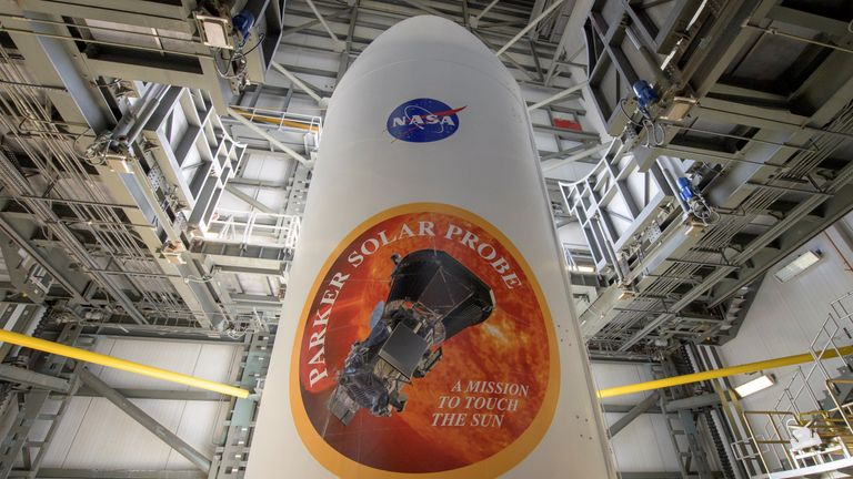 The United Launch Alliance Delta IV Heavy rocket payload fairing is seen with the NASA and Parker Solar Probe emblems, at Launch Complex 37, Cape Canaveral Air Force Station. Pic: Bill Ingalls/NASA