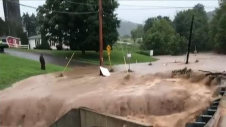Heavy rain has caused rivers to rise in Pennsylvania