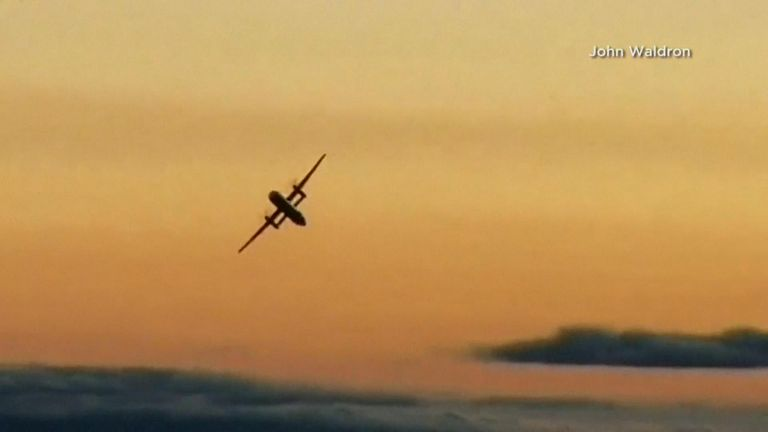 The man flying the stolen plane was filmed flying in a loop. Pic: John Waldron
