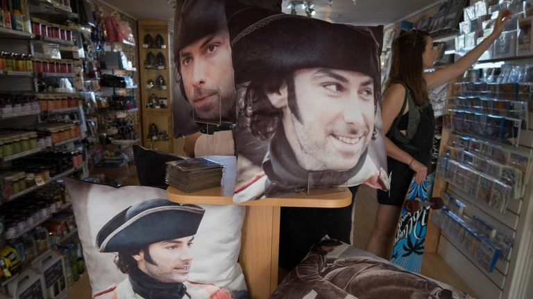 Poldark merchandise on sale in Falmouth, Cornwall