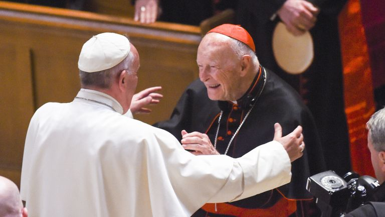 WASHINGTON, DC - SEPTEMBER, 23: Cardinal Archbishop emeritus Theodore McCarrick (C) greets Pope Francis (L) during Midday Prayer of the Divine with more than 300 U.S. Bishops at the Cathedral of St. Matthew the Apostle on September 23, 2015 in Washington, DC. The Pope is on a three-day visit of Washington, D.C. as part of a larger visit to the U.S. (Photo by Jonathan Newton-Pool/Getty Images)
