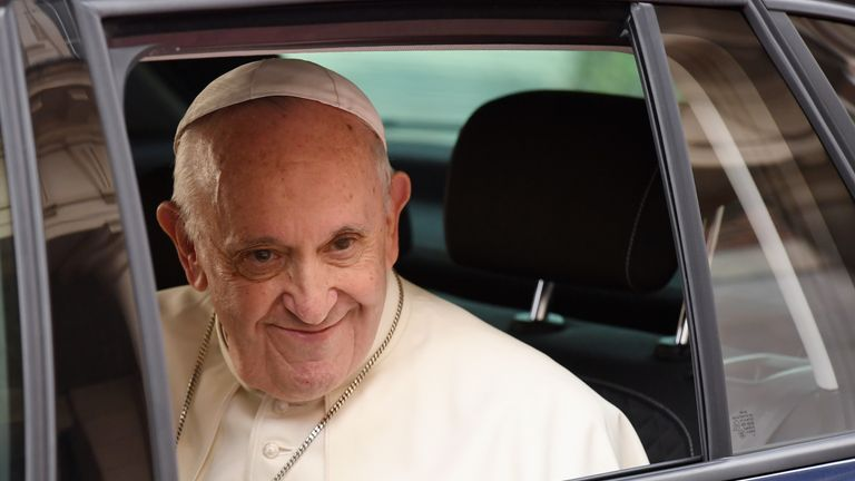 The Pope arrived at Dublin Castle in a modest Skoda car