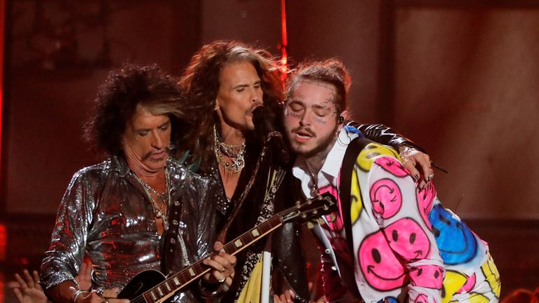 Post Malone (right) performed with Aerosmith at MTV Video Music Awards on Monday