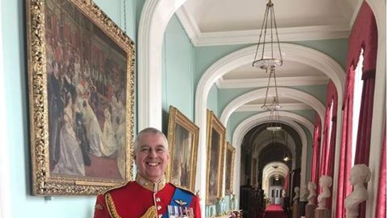 Prince Andrew stands in an 'off-limits' corridor of Buckingham Palace. Pic: Instagram/Princess Eugenie