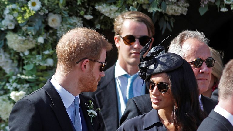 Prince Harry and Meghan, Duchess of Sussex, arriving at the Church of St Mary the Virgin