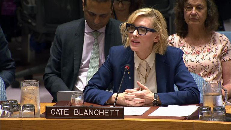 Oscar-winning actor Cate Blanchett gave a report to the United Nations Security Council on her visit to the Rohingya refugee camps