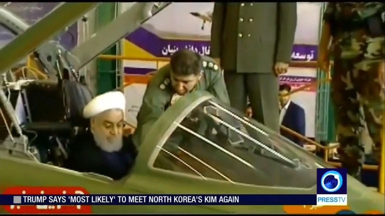 President Rouhani sat briefly in the cockpit during Kowsar's unveiling